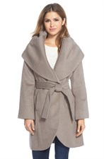 Wool Blend Belted Wrap Coat