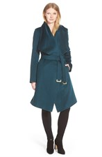 Drape Collar Wool Blend Wrap Coat